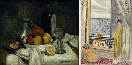 左)アンリ・マティス《スヒーダムの瓶のある静物》(1896年、マティス美術館、ル・カトー=カンブレジ) 右)アンリ・マティス《窓辺の女》(1920年、みぞえ画廊)