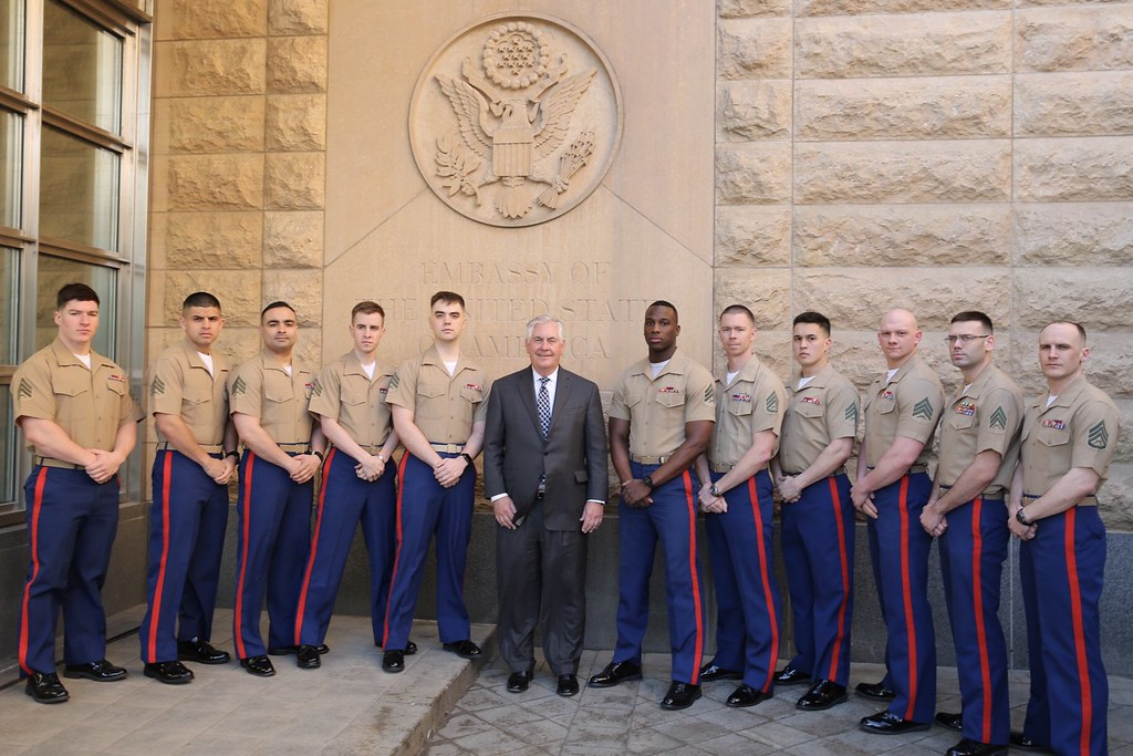 secretary tillerson poses for a photo with the marine security guard detachment at embassy moscow