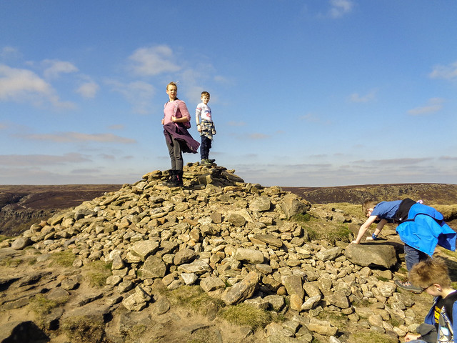 At the cairn on Grindslow Knoll