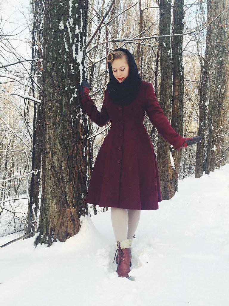 зимний винтажный лук снуд