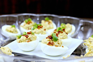 jalapeno bacon deviled eggs | by Sweet Beginnings Blog
