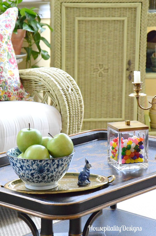 Sunroom-Chinoiserie table-Jelly Beans-Spring Vignette-Housepitality Designs