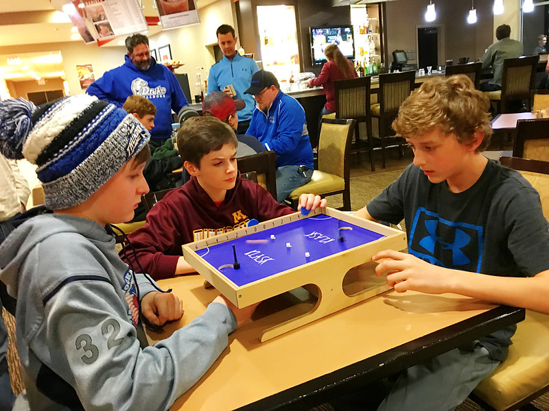 day 4661:  a new twist on team bonding in hotel lobbies with klask.