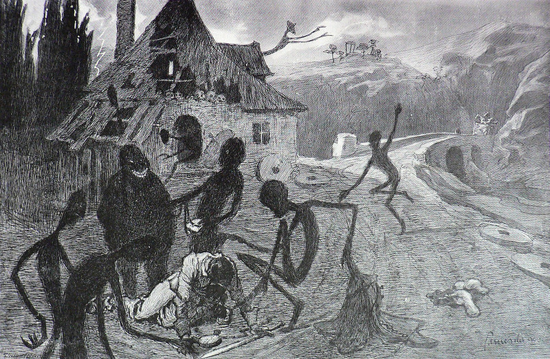 "Jaroslav Panushka - ""Devil's Mill"".  Illustration for Vaclav Riha's ""Tale Of Three Wonderful Friends,"" 1900"
