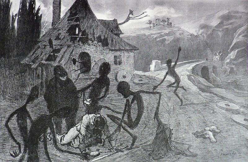 """Jaroslav Panushka - """"Devil's Mill"""". Illustration for Vaclav Riha's """"Tale Of Three Wonderful Friends,"""" 1900"""