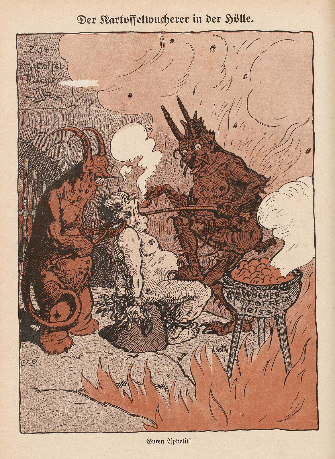 Monogramm Leo - The potato usurer in hell, 1915