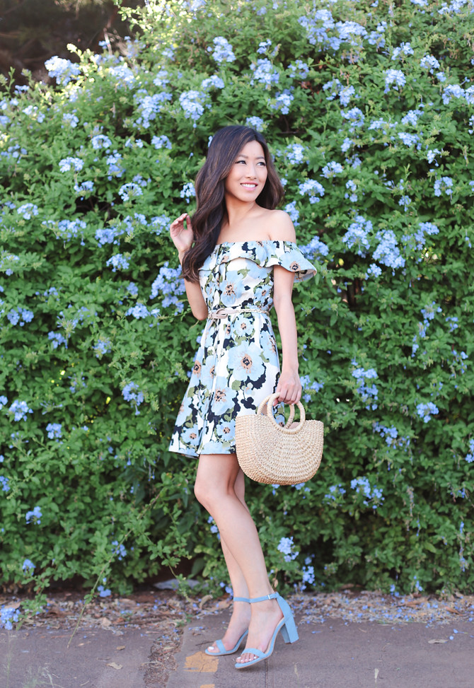 spring outfit ruffle floral dress sandals petite fashion