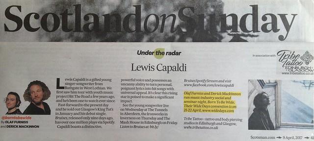 Scotland On Sunday, 9 April 2017, Lewis Capaldi