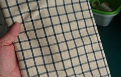 Window Pane Navy & Ivory Check fabric