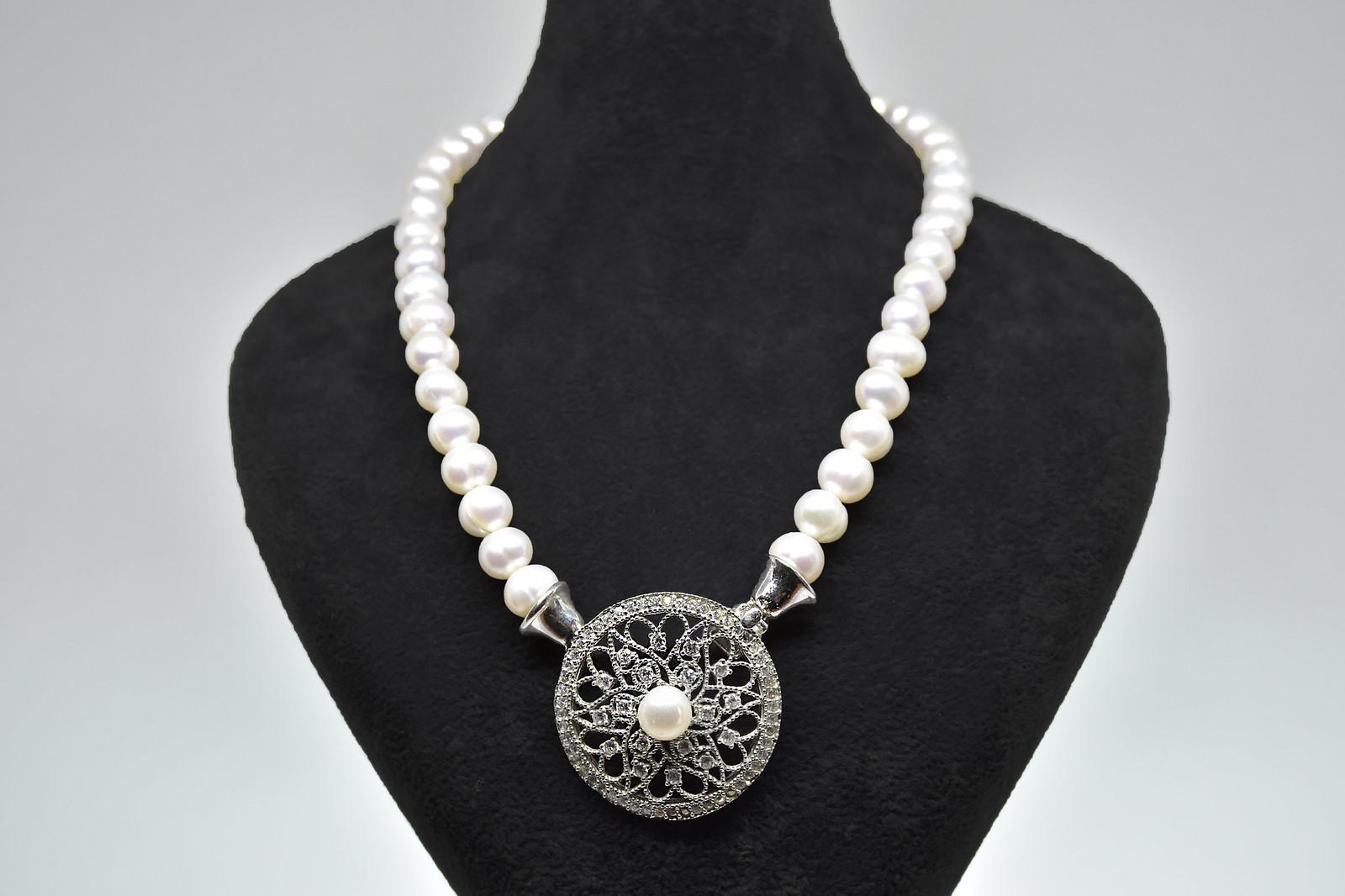 - Ahsen 925K Gümüş Zirkon Taşlı Doğal Beyaz İnci Kolye-AH-0019
