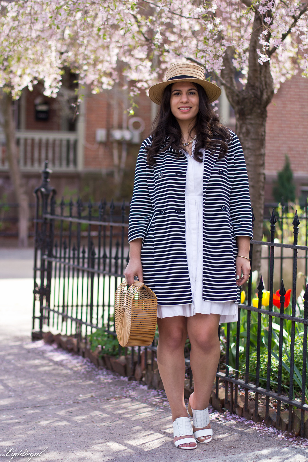 white dress, striped coat, white mules, straw hat-3.jpg