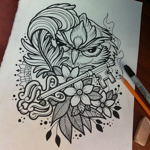 Sketch owl!!! #ta2 #tinta #tattoo #tatuaje #ink #pen #piel #skin ...