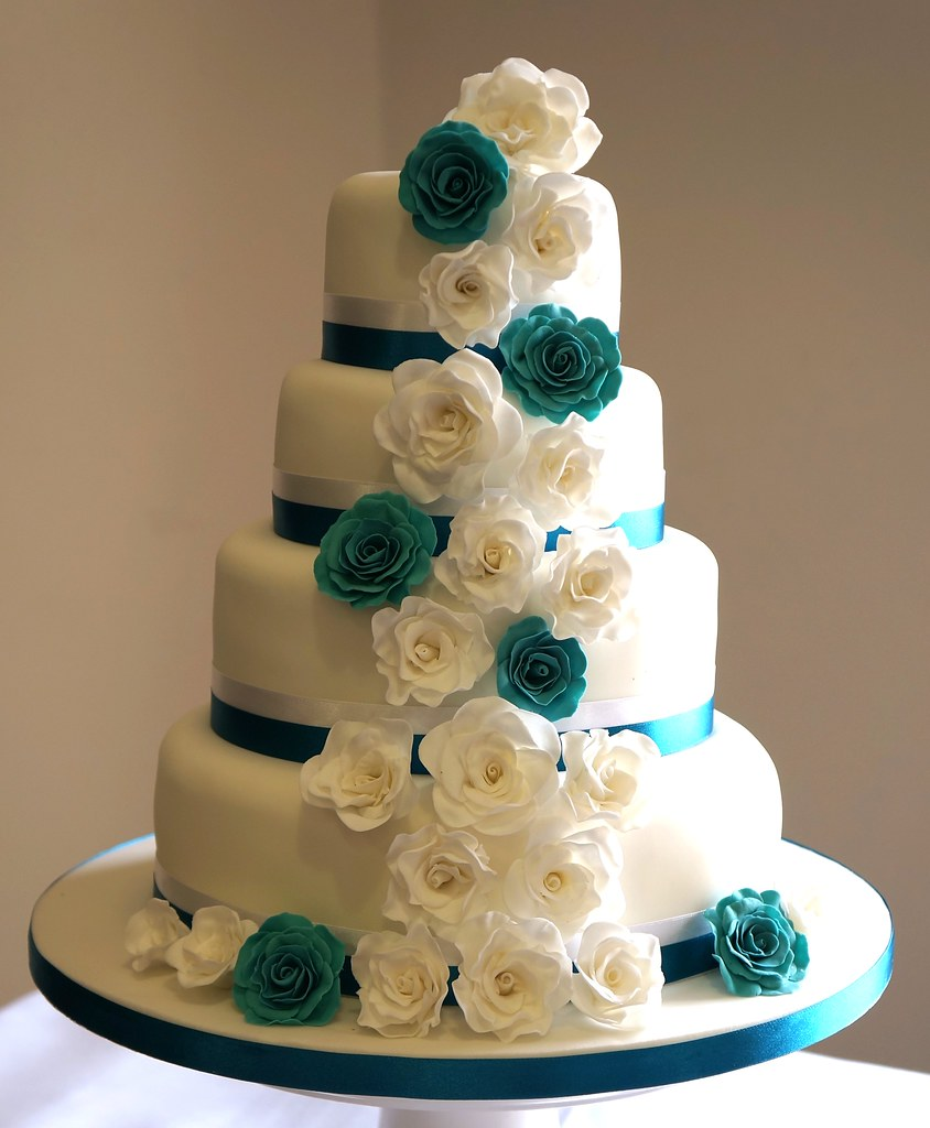 Teal And White Roses Wedding Cake