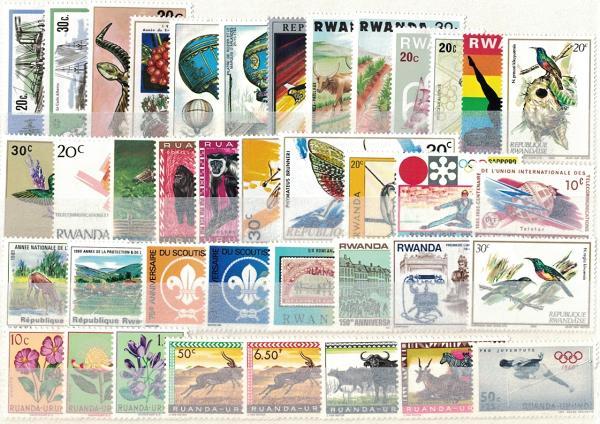 Známky Rwanda, rôzne série 39 ks narazítkované MINT