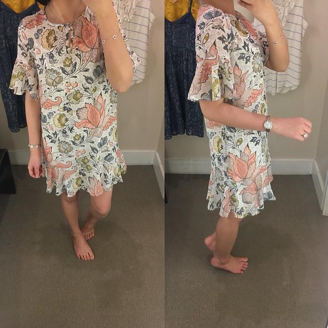 LOFT Shimmer Floral Flounce Dress, size XSP