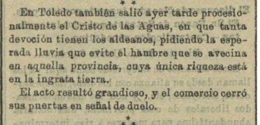 Diario La Unión Católica del 28 de abril de 1896. reseña de la salida en procesión del Cristo de las Aguas en rogativa pidiéndole la lluvia que acabase con la sequía