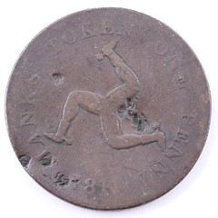 1811 Isle of Man Manks One Penny Token reverse