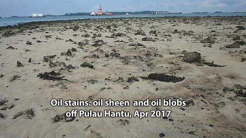 Oil stains, sheen and blobs around Pulau Hantu