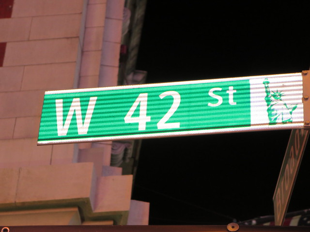 W 42nd St. famous street sign in Times Square, New York ...