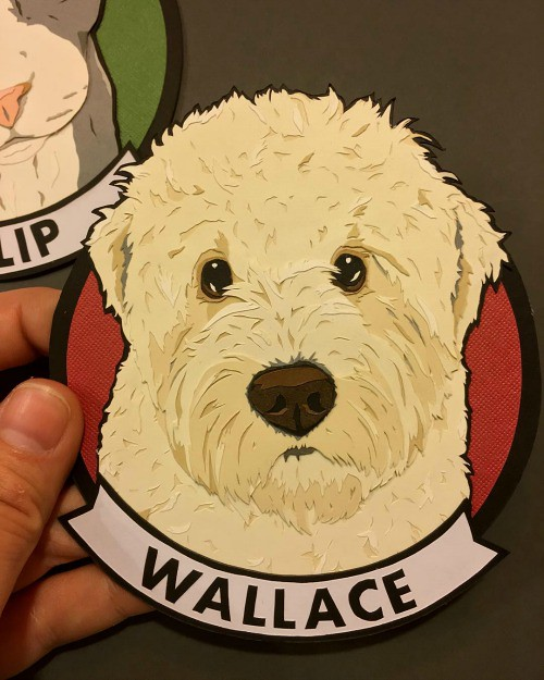 Papercut Dog Portrait - Wallace
