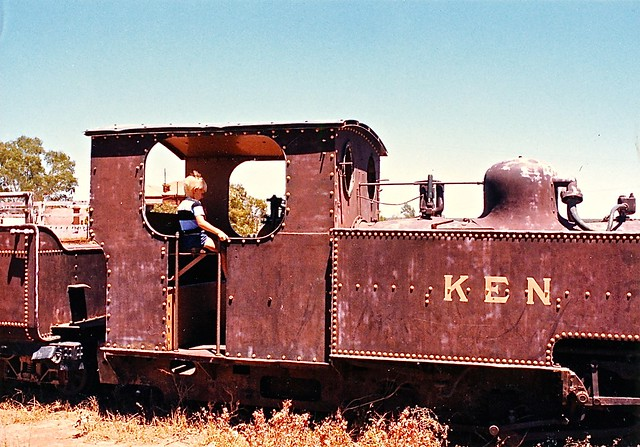Ken on an old train at Leonora - December 1986