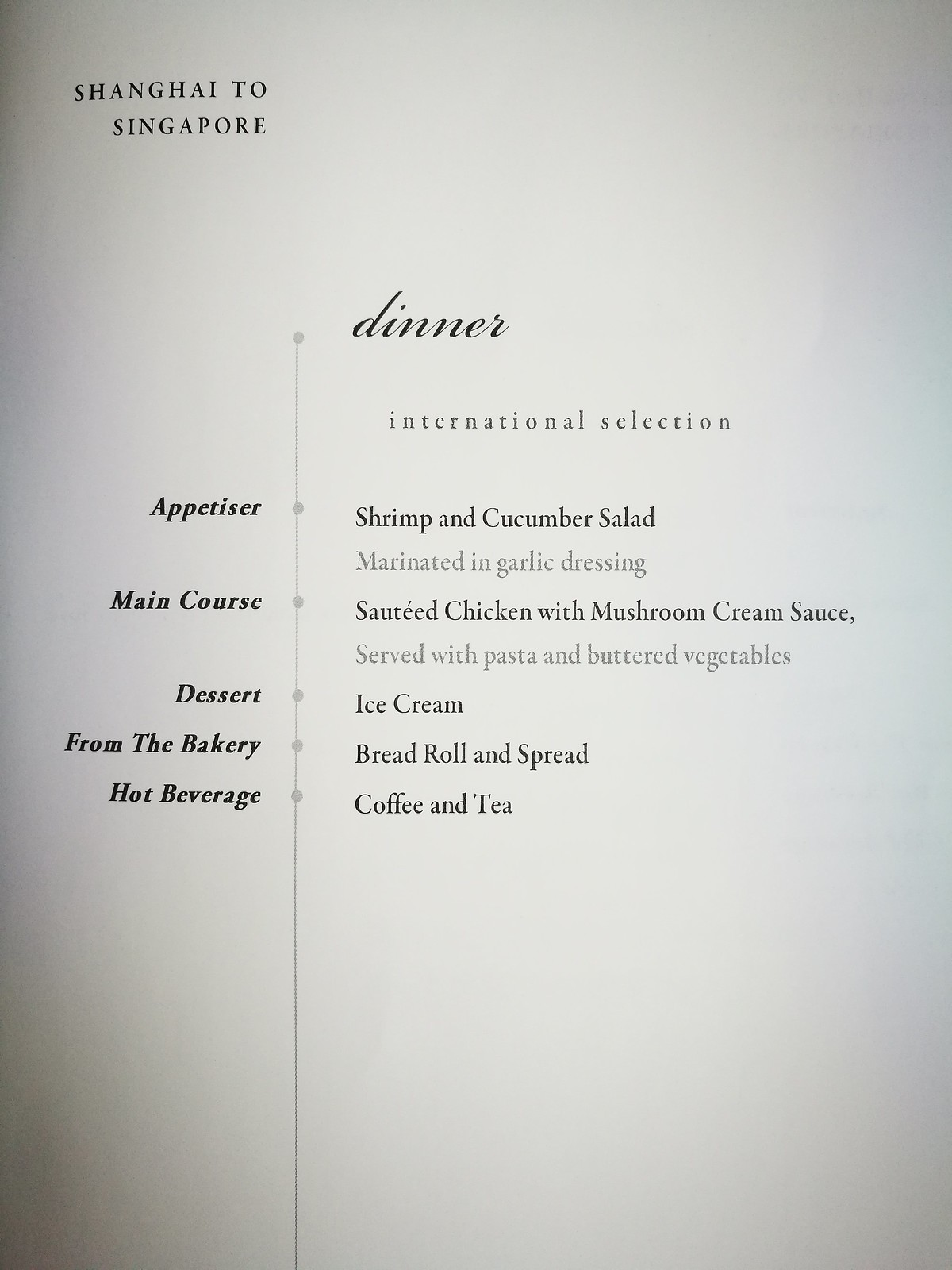 International dinner menu