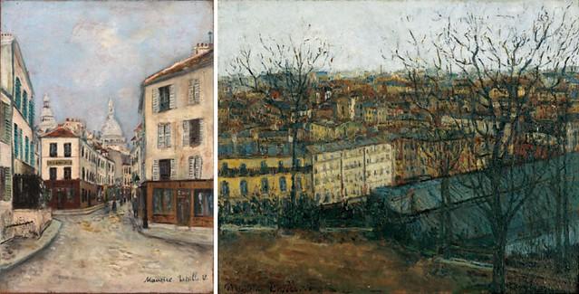 左)モーリス・ユトリロ《ノルヴァン通り、モンマルトル》(1912-14年頃、個人蔵) 右)モーリス・ユトリロ《モンマルトルのサン=ピエール広場から眺めたパリ》(1908年、八木コレクション蔵)