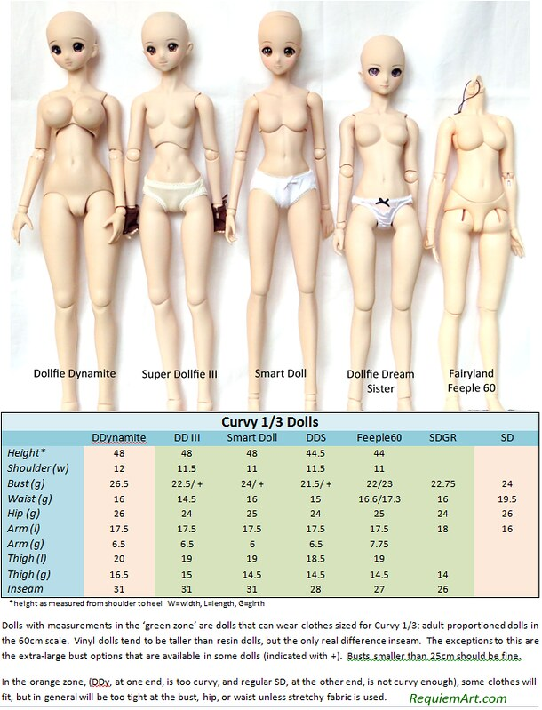 60cm BJD doll comparison chart