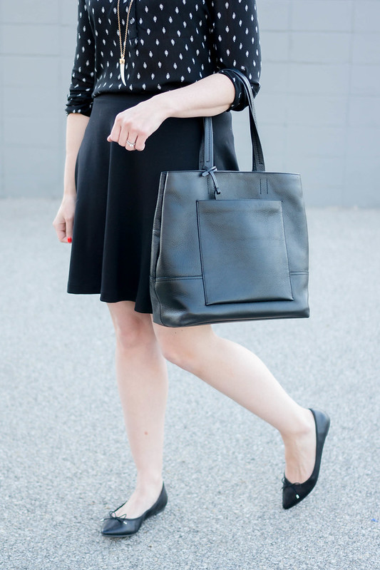 black and white old navy blouse + black skirt + target flats + black J.Crew tote; spring work outfit | Style On Target blog