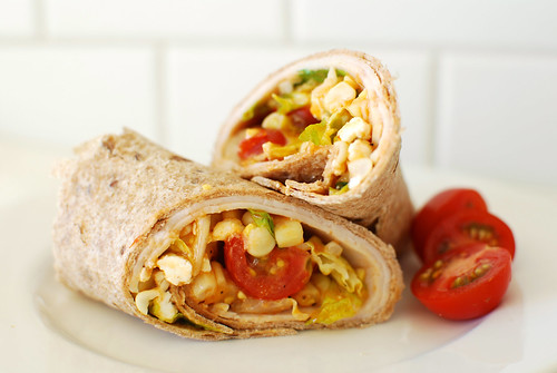 Turkey, Tomato, and Fresh Corn Wraps with Annie's Organic Smoky Tomato Dressing | by Annie's Homegrown