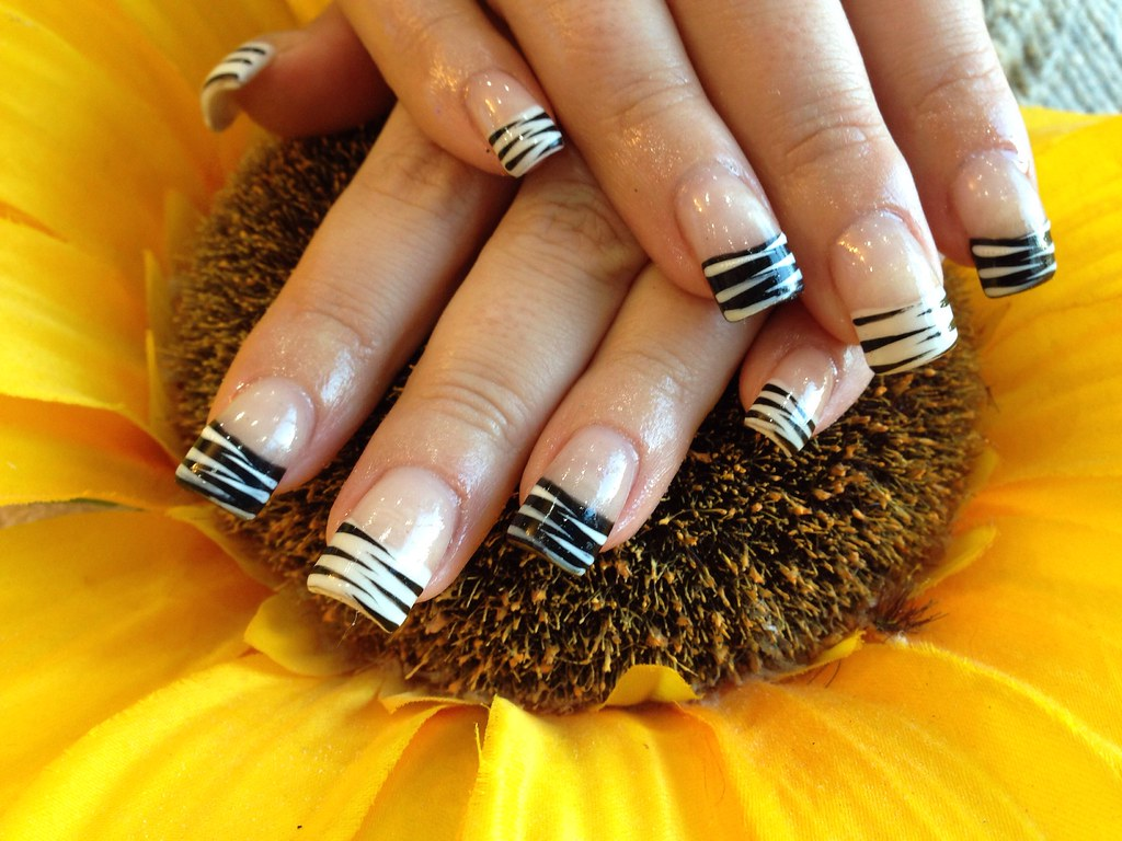 Acrylic nails with black and white French polish with free… | Flickr