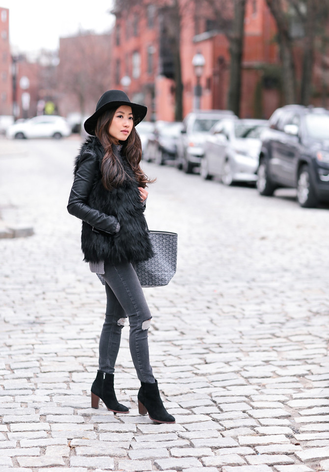 how to style layer a black faux fur vest outfit