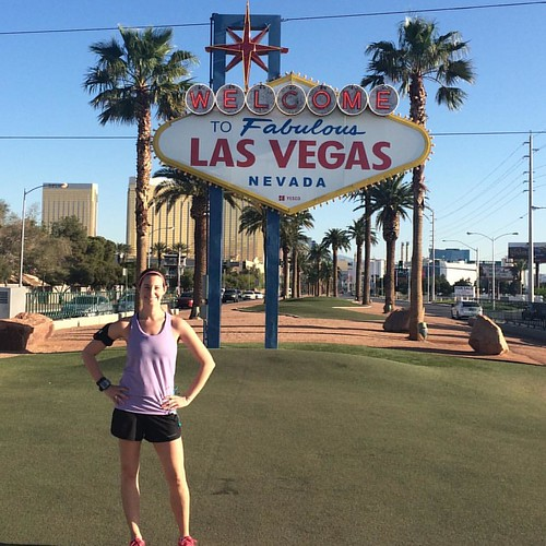 Perk of being on East Coast time -- an early morning run to the Welcome to Vegas sign on the relatively quiet Strip. #instatravel #nofilter #lasvegas