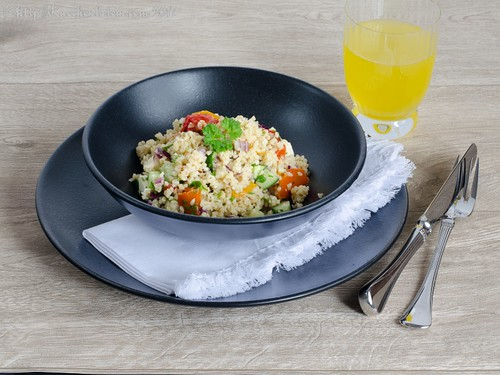 Quick couscous salad with peppers and feta-2