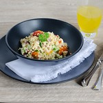 Quick couscous salad with peppers and feta