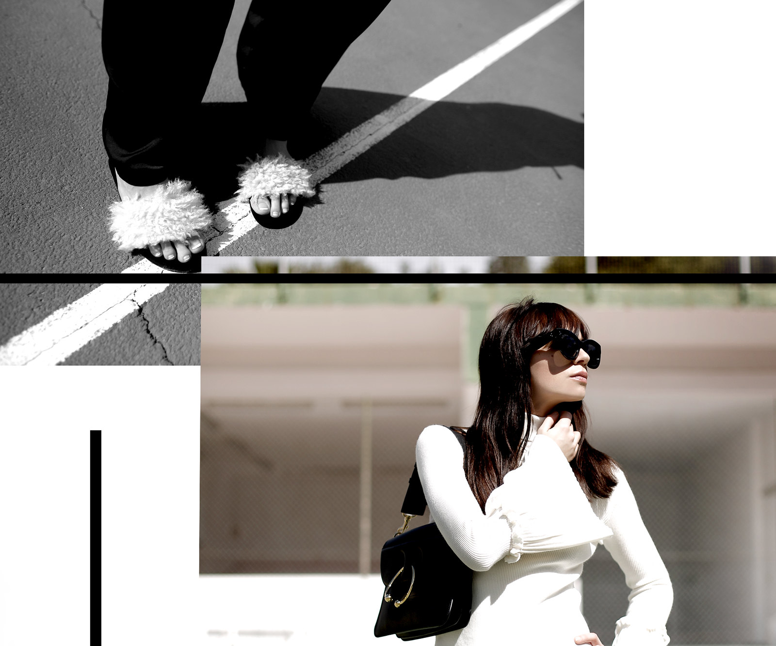 tennis edgy styling editorial photography chicwish white knit bell sleeves silk pants summer heat style céline audrey sunglasses j.w.anderson pierce bag zara sandals shadows fashionblogger outfit ootd modeblog cats & dogs ricarda schernus düsseldorf 4