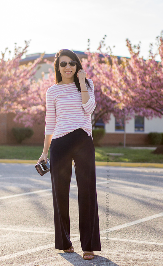 pink striped top, navy wide leg pants, brown suede sandals, rose gold cuff