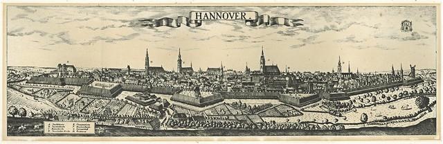 Friedrich Bernhard Werner - Ansicht der Stadt Hannover von Nordwesten mit Blick über die Ihme, Kupferstich um 1730