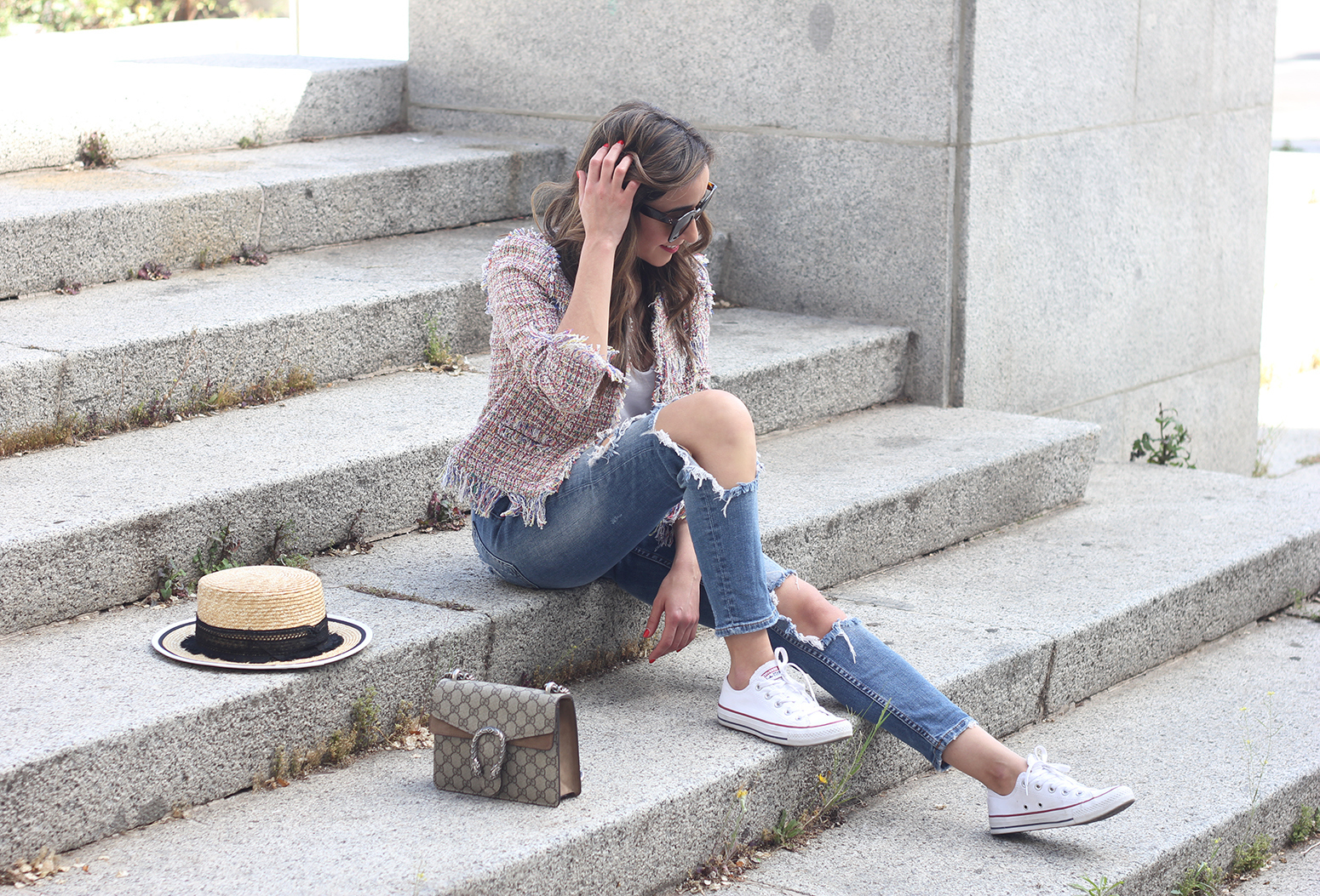 Tweed Jacket ripped jeans converse sneakers gucci bag spring outfit style03