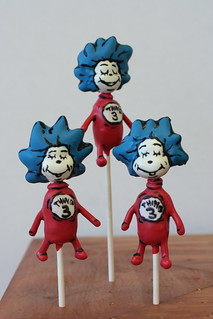 Dr. Suess Cake Pops-Thing 1 and Thing 2 Cake Pops | by Sweet Lauren Cakes