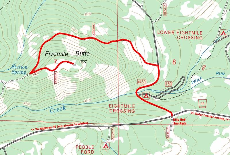 Fivemile Butte winter map