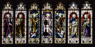 Risen Christ and censing angels flanked by St Andrew, St Matthew, St Peter and St Philip (Hardman & Co, 1900)