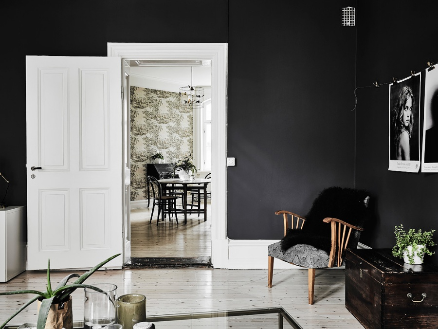A Gorgeous Scandinavian Apartment with Dark Bedroom
