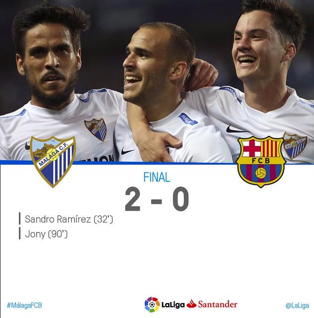 La Liga Santander (Jornada 31): Málaga CF 2 - FC Barcelona 0