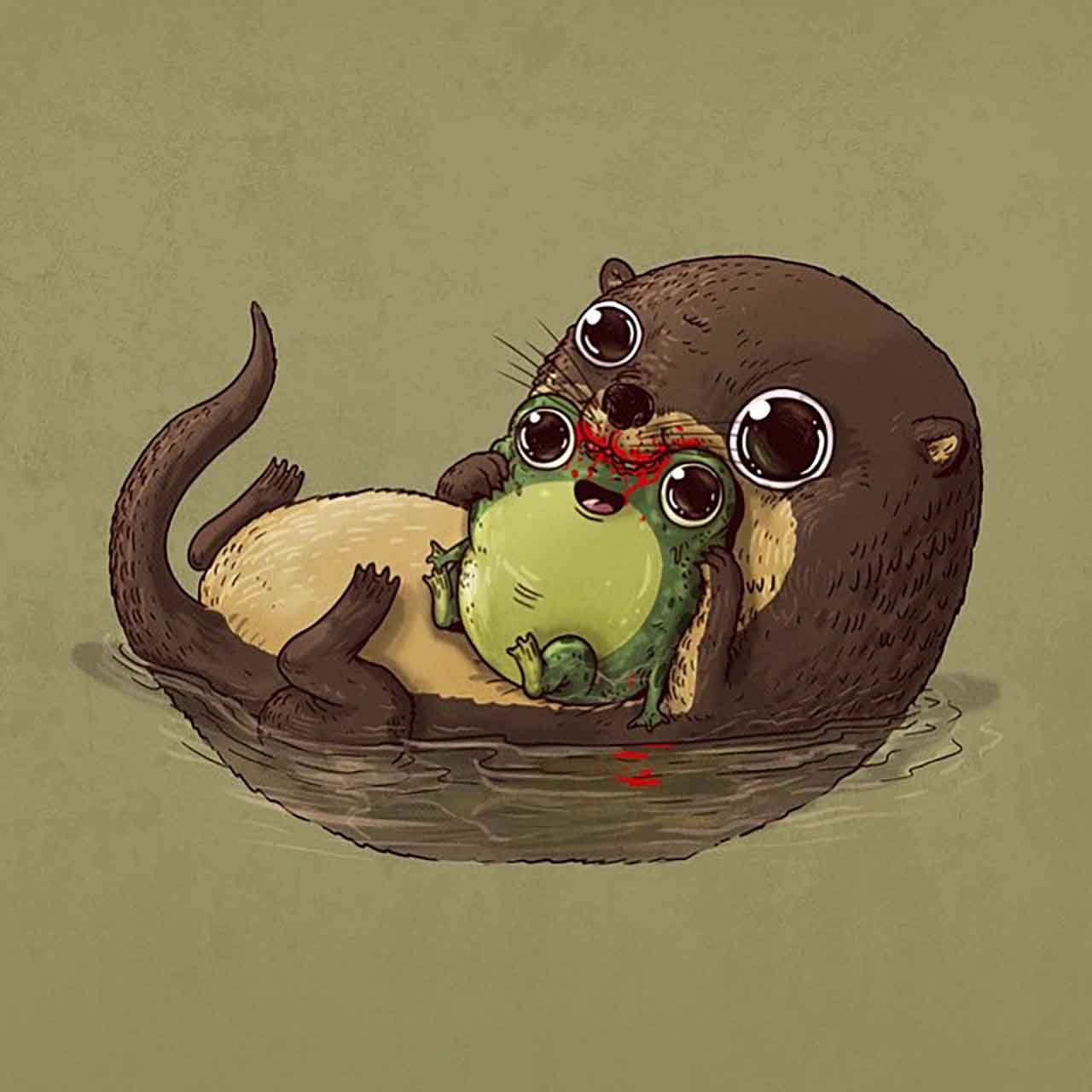 "Artist Creates Extremely Adorable ""Predator & Prey"" Illustrations #25: Otter & Frog"