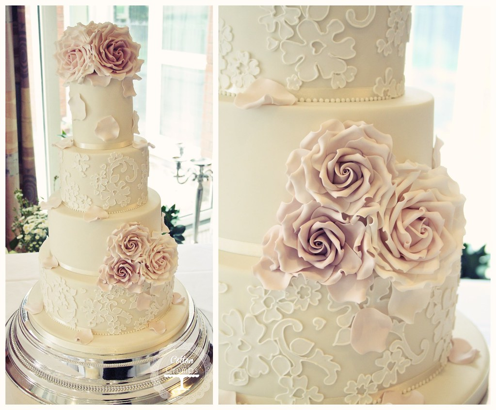 Delicate Lace Wedding Cake Delivered To The Windmill Yeste Flickr - Lace Wedding Cakes