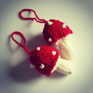 knitted toadstool ornaments | by Home Baked Online