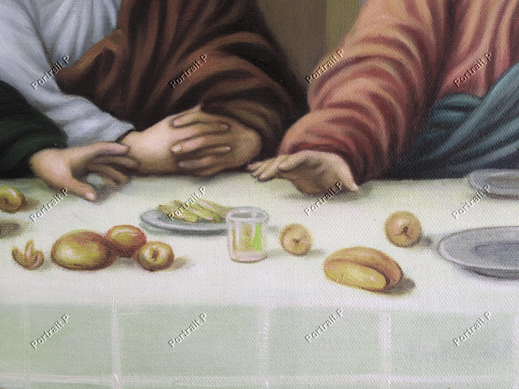 Old Master Art Antique Portrait The Last Supper Jesus