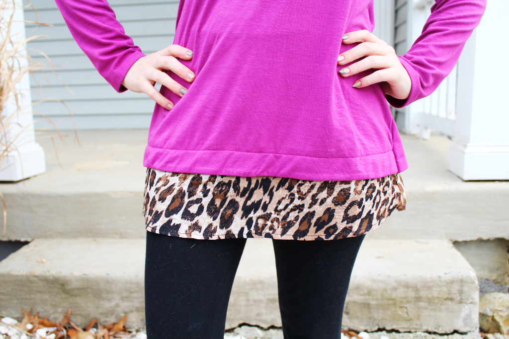 Purple and leopard print zipper back top