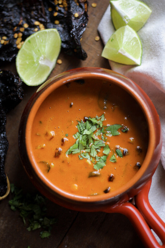 ... Chile-Infused Coconut Soup with Roasted Corn and Mushrooms – Flan